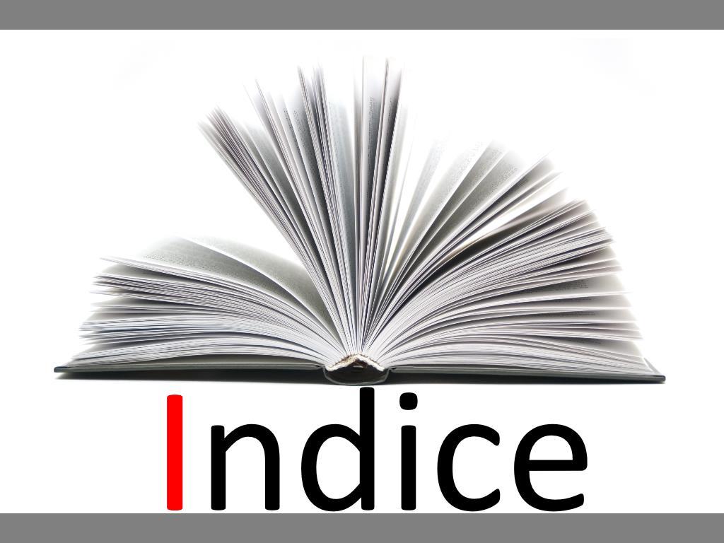 Indice dei contenuti e glossario